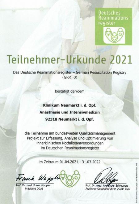 Urkunde Deutsches Reanimationsregister